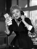 Shelley Winters wearing a Black Dress and Answering the Phone in a Classic Portrait