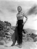Shelley Winters Posed in White Stripe Long Sleeve Shirt and High Waist Black Long Pants
