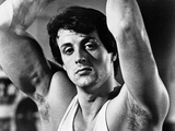 Sylvester Stallone wearing a Tank Top and Hands Raised