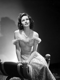 Teresa Wright Seated in Off Shoulder Dress