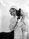 Ruth Roland Holding Camera in Furry Coat Portrait