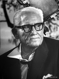 Spencer Tracy Cast Member Looking Away wearing Formal Suit with Eyeglasses in Black and White Portr