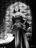 Shelley Winters Posed in Black Silk Shoulder Dress and Gloves