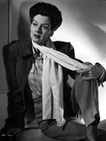 Rosalind Russell in Formal Outfit With Scarf Black and White