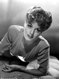 Shelley Winters Posed in White V-Neck Long Sleeve Shirt