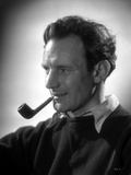 Trevor Howard in Black Shirt With Pipe on His Mouth