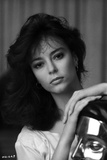Rachel Ward Leaning Pose in Black and White Close Up Portrait