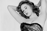 Susan Hayward wearing a Black Embroidered Tube Blouse