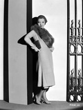 Sylvia Sidney Leaning on Wall in a Furry Scarf