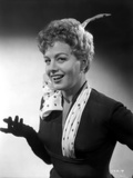 Shelley Winters Portrait in Black Shirt and White Polka Dot Scarf