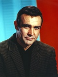 Sean Connery Posed in Plaid Coat
