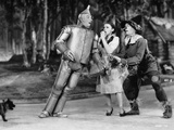 Wizard Of Oz Tin Man Leaning on Dorothy in Black and White