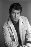 James Garner Posed in White Coat With Collar