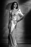 Frances Dee posed in A White Gown in Black and White