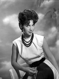 Suzanne Pleshette wearing a White Dress and Black Beads Necklace
