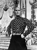Yul Brynner standing in polka dot With Hands on Hip