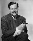 Orson Welles smiling in Black and White
