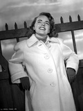 Terry Moore on a Coat Looking Up and smiling