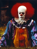 Tim Curry Posed in Clown Outfit