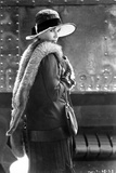 Barbara Hershey Pose in Coat with Furry Scarf and Hat