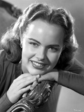 Terry Moore Seated and Leaning in Black and White