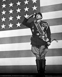 George Scott Saluting in Military Dress With American Flag