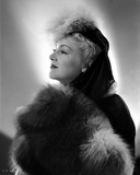 Claire Trevor Looking Away in Fur Coat and Hat