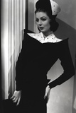 Loretta Young Royal Black and White Dress with Hat