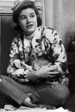 Patty Duke on Printed Top Carrying Chihuahua