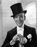 Fred Astaire Posed in Formal Suit and Top Hat Black and White
