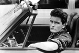 Charlie Sheen in Black Close Up Portrait