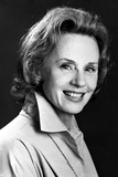 Jessica Tandy Portrait in White Long Sleeve Coat and Long Chain Necklace