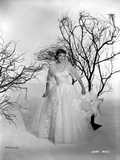 Vera Miles photographed holding an elegant designed hat  with leaveless trees  wearing a white tule