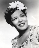 Billie Holiday smiling Close Up Portrait with Floral Accessories