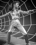 Debbie Reynolds Portrait in Checkered Top on a Spider Web
