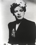 Billie Holiday Posed in Black Dress with Flower on Hair Portrait