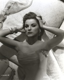 Debra Paget Lying on Bed in Black and White