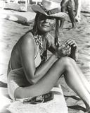 Bo Derek on Sand in Swimsuit with Hat