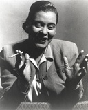 Billie Holiday Smoking Cigarette in Black and White Portrait