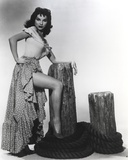 Debra Paget Posed in Dress Black and White