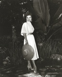 Debra Paget in White Dress With Hat