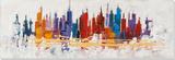 Technicolor Cityscape Peinture réalisée à la main