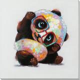 Playful Panda Hand Embellished Art