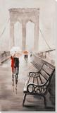 Brooklyn Bridge Stroll Peinture réalisée à la main