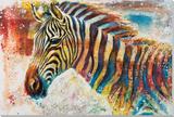 Technicolor Zebra Peinture réalisée à la main