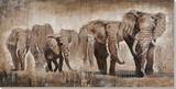 Troupeau d'éléphants Peinture réalisée à la main