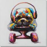 Spotted Skater-Pug Hand Embellished Art