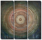 Emerald Medallion Triptych Hand Embellished Art
