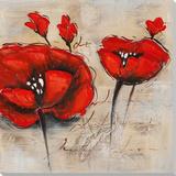 Fleurs cramoisiesI Peinture réalisée à la main