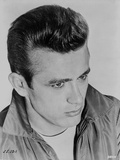 James Dean Portrait in Grey Velvet Jacket and White T-Shirt with Brushed Up Hair